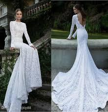 dh wedding dresses white vintage lace bateau ribbon backless mermaid berta bridal