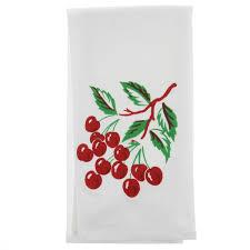 cherry flour sack tea towel vintage 50s kitchen towels