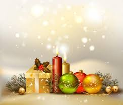 light christmas background with evening balls candles and gift