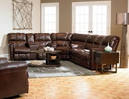 Sectional Recliner Sofas Furniture Rustic Leather Sectional With Recliner Furniture Brown