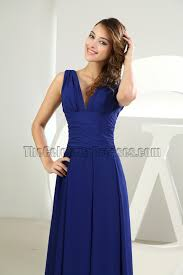 discount royal blue chiffon v neck prom dress evening gown