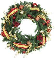 artificial wreath 36in battery operated poinsettia with 60 clear