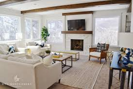 Living Room Ceiling Beams Transitional Living Room With Wood Ceiling Beams Transitional