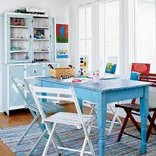 blue painted dining table distressed painted furniture ideas for a coastal beach look