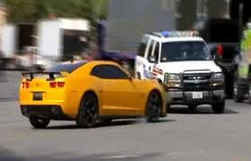 video bumblebee camaro crashes into real police car on