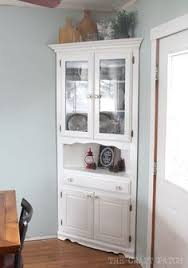 kitchen corner hutch cabinets turquoise painted corner built in it s she den makeover reveal day