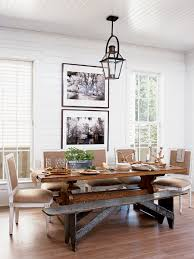 Square Back Dining Chairs Combined With An Antique Bench Around