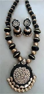 beautiful golden black handmade terracota necklace set