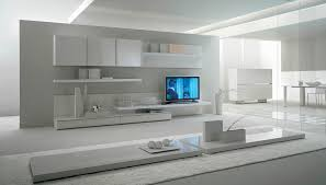 Modern Livingroom Design Contemporary Lacquered Tv Wall Units With White Theme In Bright