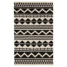 Ikat Area Rug Mercury Row Carrizales Woven Wool Black Grey Ikat Area Rug