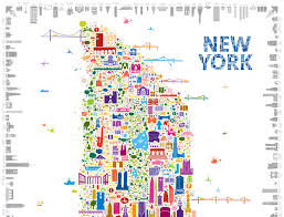 map of new your alfalfa s whimsical map colorfully details 400 new york icons 6sqft