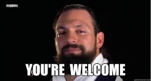 Your Welcome Meme - you re welcome damien sandow says youre welcome quickmeme