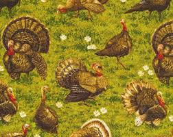 thanksgiving material fabric turkey etsy