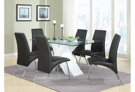 Wood And Glass Dining Table Modern Casual Black Dining Room Set With X Base Glass Top Dining