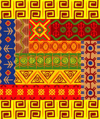 ethnic ornaments with tribal and national patterns of