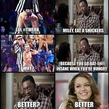 Snickers Commercial Meme - how miley cyrus at the vma s will go down in history illustrated