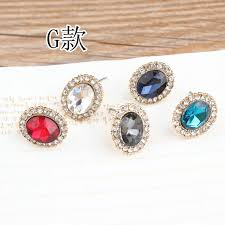 s hypoallergenic earrings new arrived alloy gold tone rounds rhonestone flowers
