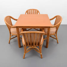 mcguire rattan dining game table u0026 set of 4 chairs u2013 lofty marketplace