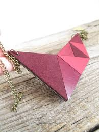 pink leather necklace images Pink leather necklace geometric leather necklace leather bib jpg