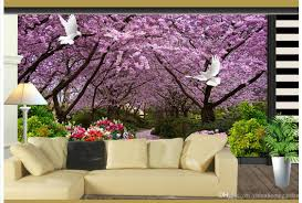 cherry tree white pigeon tv background wall mural 3d wallpaper 3d see larger image
