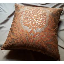 Orange Velvet Cushion Fortuny Fabric Throw Pillow Cover Burnt Apricot U0026 Silvery Gold