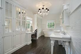 white cabinets and dark floors preferred home design