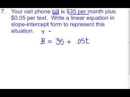 5 3 f slope intercept word problems youtube