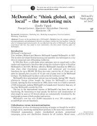 mcdonald u0027s u201cthink global act local u201d u2013 the marketing mix pdf