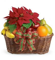 christmas fruit baskets fruit poinsettia fruit gift baskets
