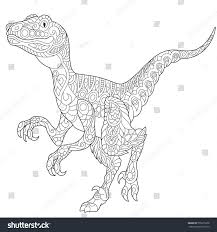 stylized velociraptor dinosaur late cretaceous period stock vector
