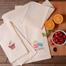 serviette cuisine creative mignon dessert broderie tissu de coton de nettoyage