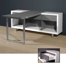 Grey Office Desk Media Office Writing Desk In High Gloss White Grey 4026 158