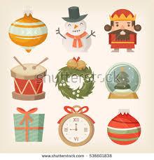 retro christmas decorations ornaments toys balls stock vector