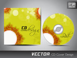 cd cover presentation design template with copy space and flower