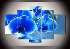 blue orchids for sale hot sale 5 pieces set blue orchid flowers painting canvas