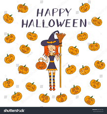 cartoon halloween background vector illustration cartoon halloween witch broom stock vector