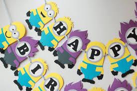 minions birthday party yellow purple minion birthday party banner evil minion banner