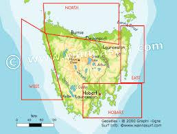map of tasmania australia tas surfing in tas australia wannasurf surf spots atlas