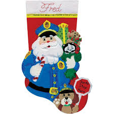 police santa felt stocking kit krafting felt stockings