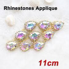 online buy wholesale rhinestone trim flower from china rhinestone 2017 hot sale 1pcs lot crystal ab rhinestone applique gold base sewing on rhinestones trim