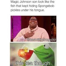 Magic Johnson Meme - magic johnson son look like the fish that kept hiding spongebob
