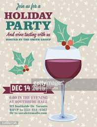 holiday party invitation template with wine tasting vector art