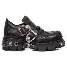 Flame Decorations Black Shoes With Black Silver Skull Flame Decorations