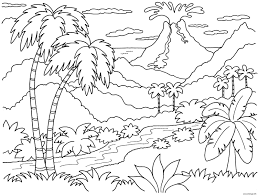 Coloriage nature paysage volcan  JeColoriecom