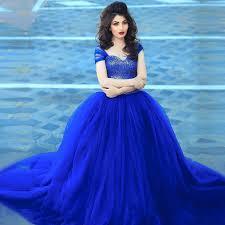 Blue Wedding Dress Aliexpress Com Buy Royal Blue Ball Gown Wedding Dress 2016 Cap