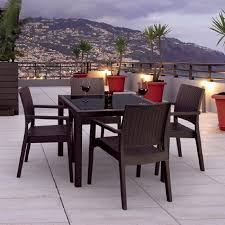 Patio Dining Set by Shop Compamia Miami Wickerlook 5 Piece Coffee Brown Glass Patio