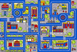 5x7 rug play road driving time street car kids town map street