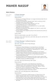 Example Of Project Manager Resume it project manager resume samples visualcv resume samples database