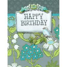 happy birthday card blank inside turquoise u0026 olive flowers