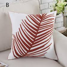 Home Decor Cushions Embroidered Sea Life Pillow For Home Decor Hippocampus And Leaf